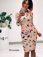 Платье по фигуре с рукавом ЮГ 881033
