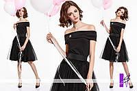 Черное платье с открытыми плечами ЮГ 881046
