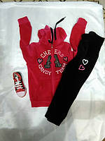 Детский спортивный костюм велюровый, турецкий, малиново- черный