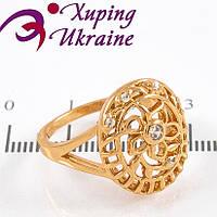 Кольцо позолота Ажурный овал-внутри цветочек