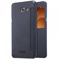 Кожаный чехол-книжка Nillkin Sparkle для Samsung Galaxy C9 Pro черный