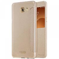 Кожаный чехол-книжка Nillkin Sparkle для Samsung Galaxy C9 Pro золотой
