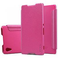 Кожаный чехол-книжка Nillkin Sparkle для Sony Xperia Z3+/Xperia Z3+ Dual розовый