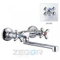 Смеситель ZEGOR двурукий для кухни T43-TMK-A настенный ручки WSL856