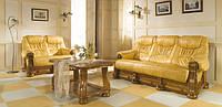 Шкіряний розкладний диван на дубі Cezar I , крісло на дубі