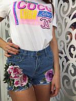 Женские джинсовые шорты с цветами МД 887779