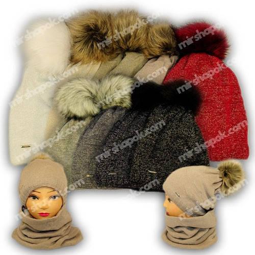 Комплект шапка и шарф (хомут) для девочки, 771, Agbo (Польша), подкладка флис
