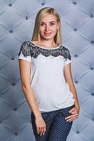 Блуза женская с гипюром белая