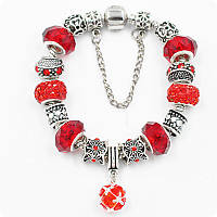 Браслет Pandora (пандора) с цепочкой красный
