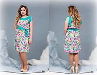 Цветочное платье для полных  ДВ-88416 (бат)
