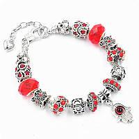 Браслет Pandora (пандора) рука фатимы красный