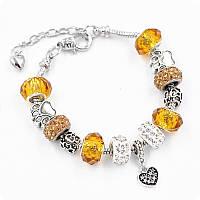 Браслет Pandora (пандора) лапки желтый