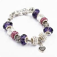 Браслет Pandora (пандора) лапки фиолетовый