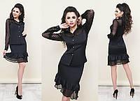 Элегантный черный костюм с юбкой  МЖ-88187