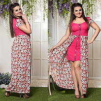 Батальное длинное платье на лето МЖ-88196 (бат)