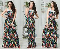 Женское длинное платье из шелка с гипюром МЖ-88207