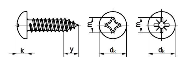Схема габаритных размеров самореза DIN 7981
