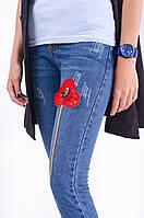 Стильные укороченные женские джинсы с вышивкой тренд 2017 года