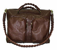 Кожаная сумка с плетёными ручками, фото 1