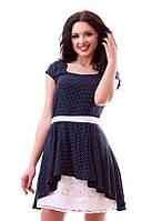 Платье в горошек со вставкой из прошвы ЕЗ-887094