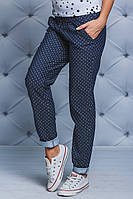 Женские брюки коттон т-синие