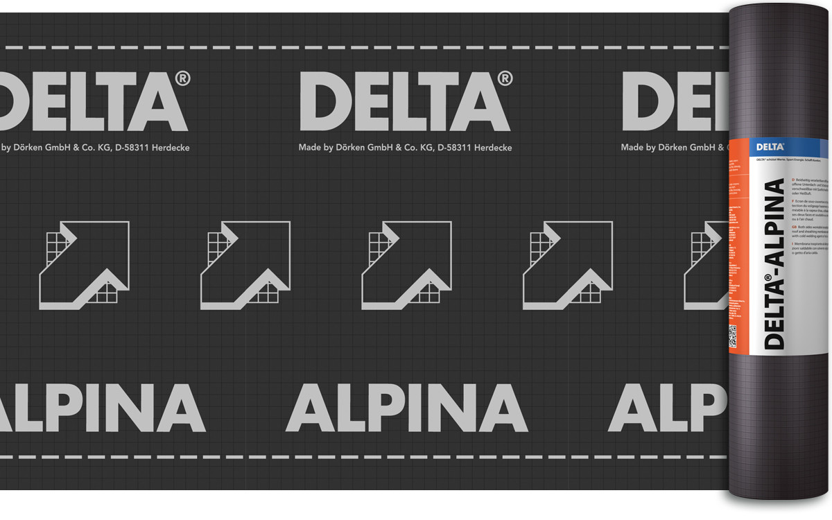 Диффузионная мембрана для устройства водонепроницаемого основания пологих и сложных крыш DELTA®-ALPINA