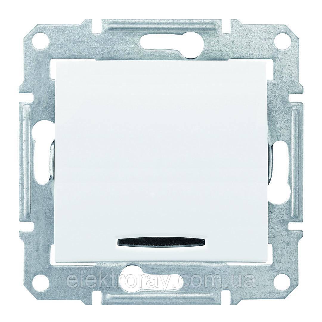 Проходной выключатель с подсветкой Schneider Sedna белый
