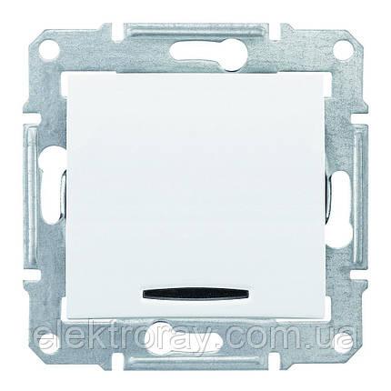 Проходной выключатель с подсветкой Schneider Sedna белый, фото 2