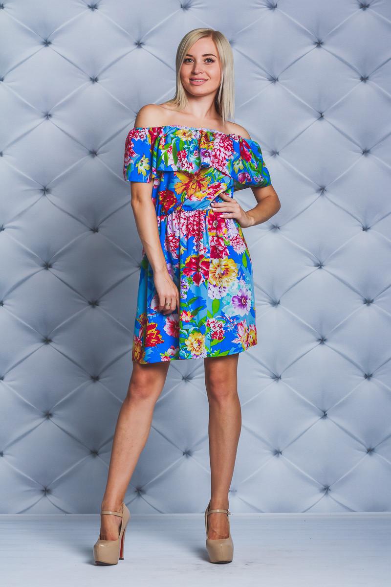 Платье с рюшей короткое