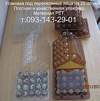 Упаковка под перепелиные яйца на 20 шт. Прозрачная упаковка для перепелиных яиц. Материал РЕТ., фото 1