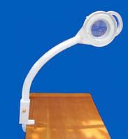 Настольная (крепление к столу) лампа лупа на штативе с подсветкой лед диодами.
