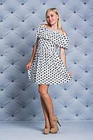 Платье с рюшей короткое Горох белое