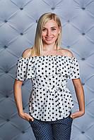 Блуза с рюшей белая Горох