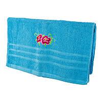 Голубое махровое банное полотенце Две мальвы