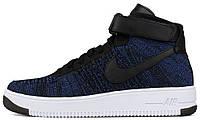 Мужские высокие кроссовки Nike Air Force 1 Ultra Flyknit Game Royal/White-Black (Найк Аир Форс) синие/черные