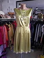 Дизайнерское платье летнее оливковое атласное