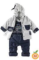 Комплект для мальчика: куртка, джинсовый полукомбинезон и шарфик