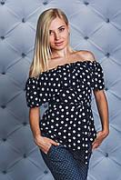 Блуза с рюшей т-синяя Горох