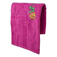Розовое махровое банное полотенце Роза