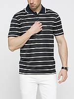 Мужское поло LC Waikiki черного цвета в белые полоски