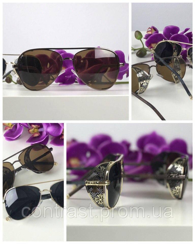 Эффектные очки-авиаторы с ажурной вставкой (коричневая линза)