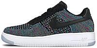 Мужские кроссовки Nike Air Force 1 Ultra Low Flyknit Black/Blue Lagoon (Найк Аир Форс низкие) синие