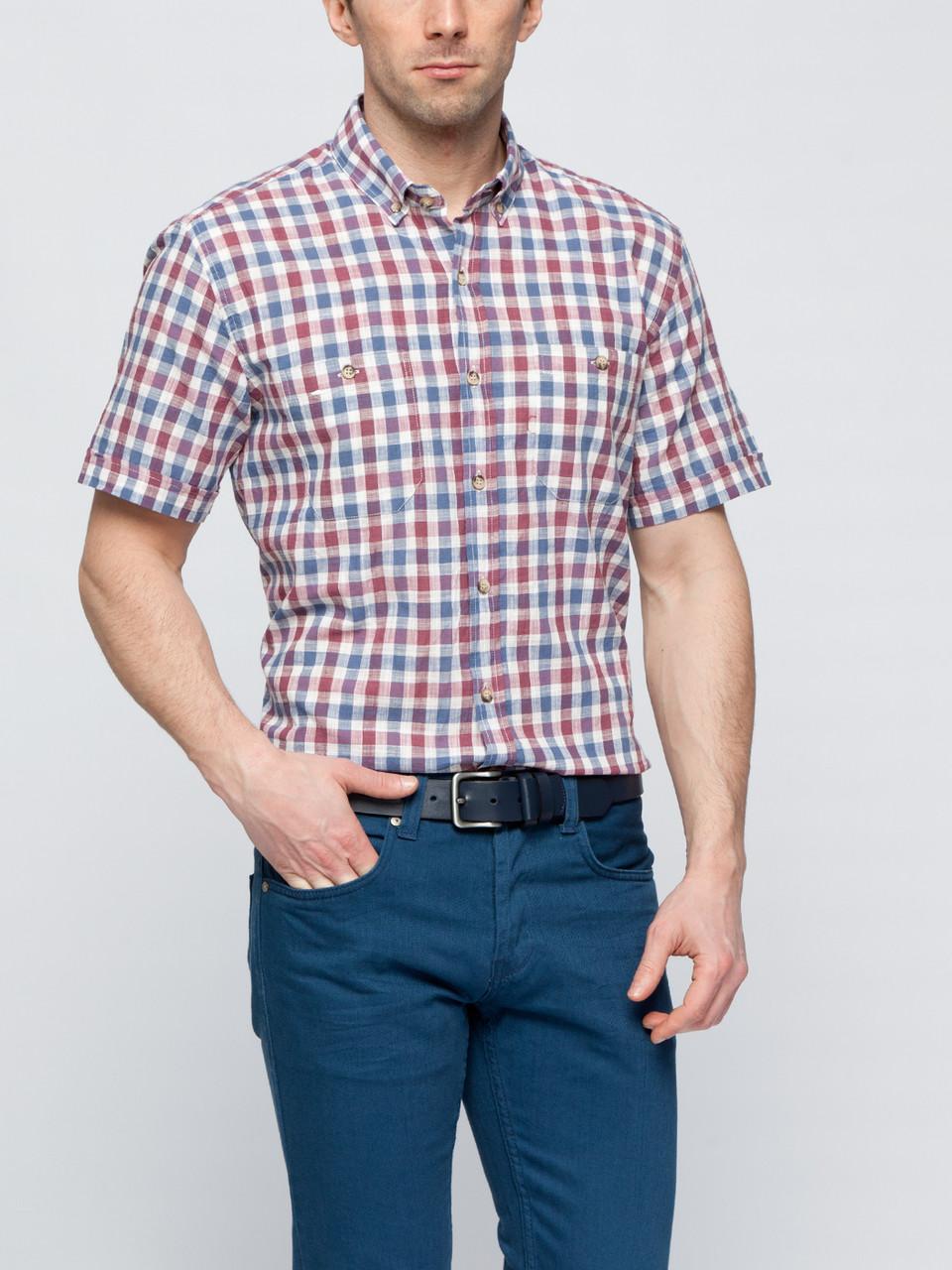 24364c155cc Мужская рубашка LC Waikiki   ЛС Вайкики с коротким рукавом в бело-красно- синюю