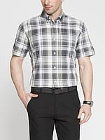 Мужская рубашка LC Waikiki с коротким рукавом светло-серого цвета в серые полоски