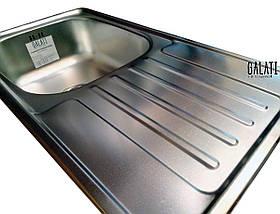 Прямоугольная мойка на кухню из нержавеющей стали (78х43,5х17 см) Galati Milana Satin 8493, фото 3