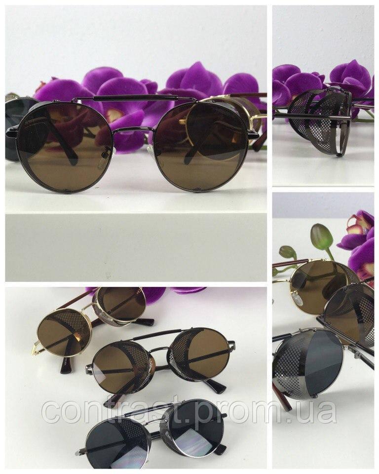 Стильные очки-тишейды с оригинальным декором (коричневая линза)