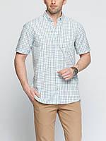 Мужская рубашка LC Waikiki с коротким рукавом белого цвета в сине-голубую полоску