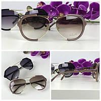 Необычные очки-оверсайз с асимметричной оправой (светло-коричневая линза)