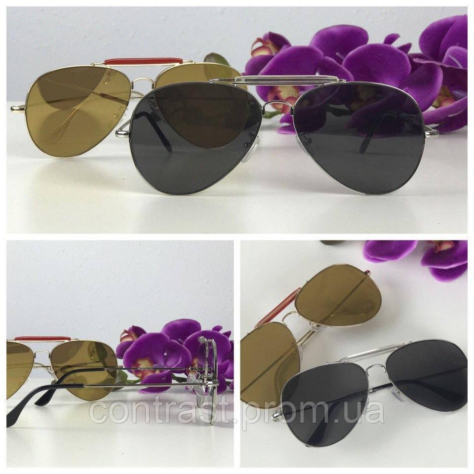 Классические очки-авиаторы с двойной перемычкой (черная линза)
