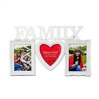 "Мультирамка G-22-014 , 3 фотографии, ""Family"" белая"
